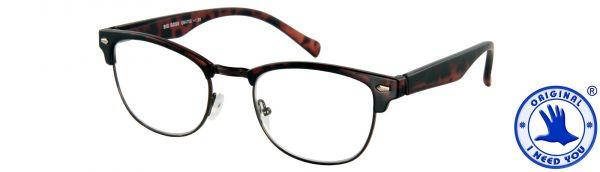 Leesbril Big Boss - Bruin mat met veer - Incl. Etui